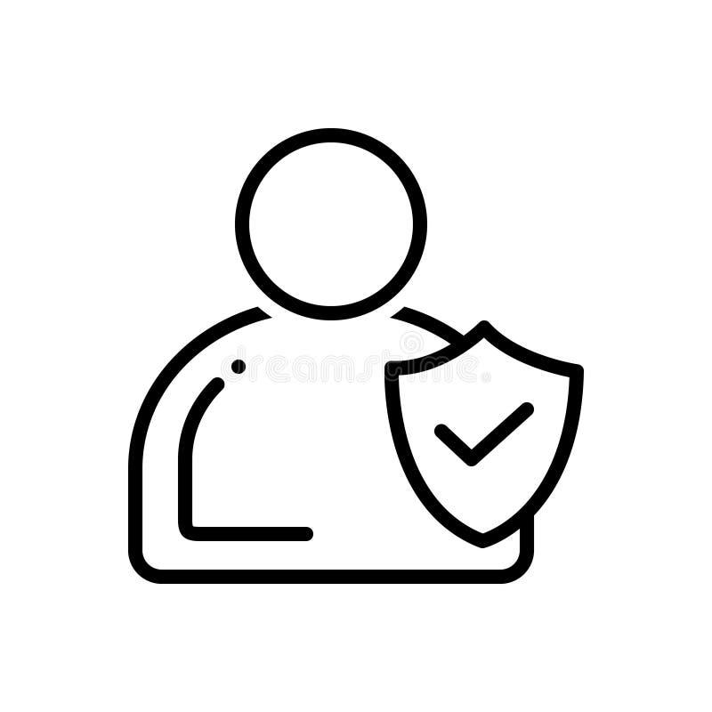 Svart linje symbol för fullständighet, förtroende och etik stock illustrationer
