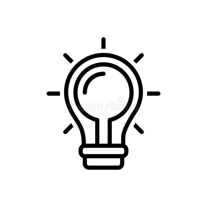 Svart linje symbol för fynd en lösning, en idé och ett idérikt stock illustrationer