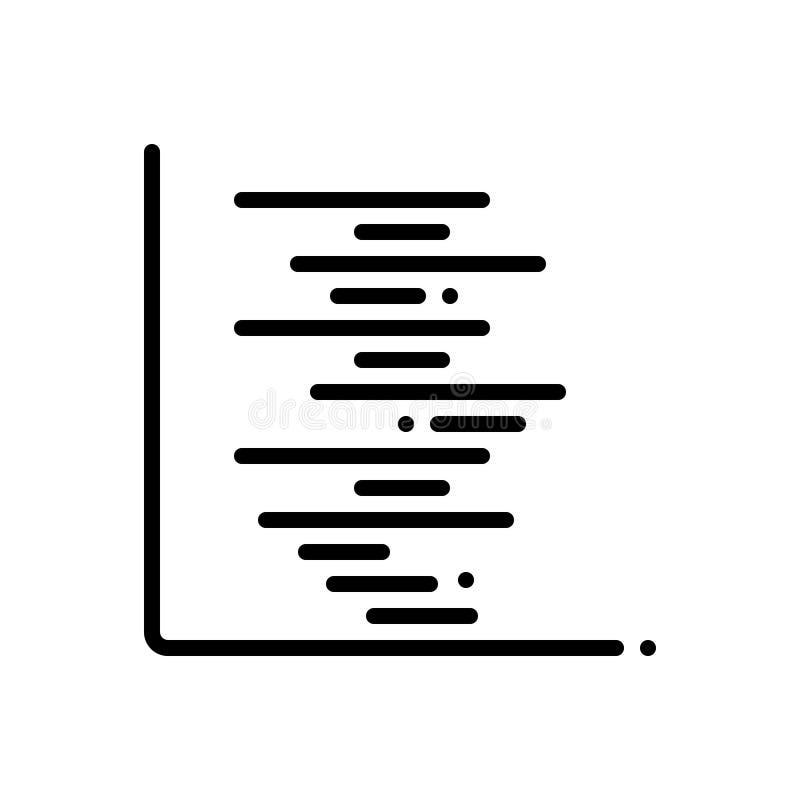 Svart linje symbol för Gant, diagram och timeline royaltyfri illustrationer