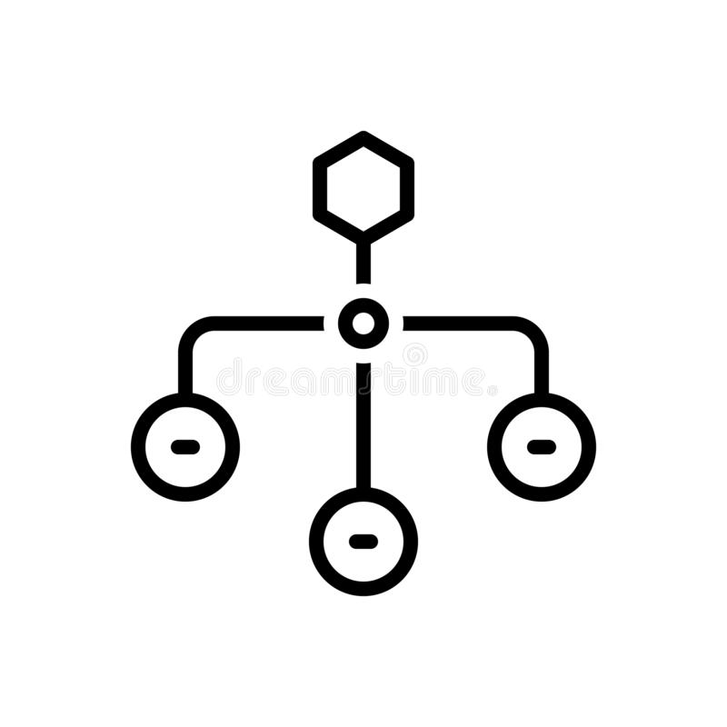 Svart linje symbol för hierarkisk struktur, sitemap och orientering royaltyfri illustrationer