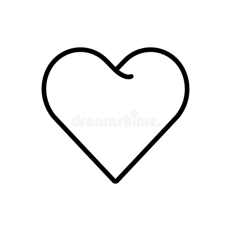 Svart linje symbol för hjärta, förälskelse och affektion stock illustrationer