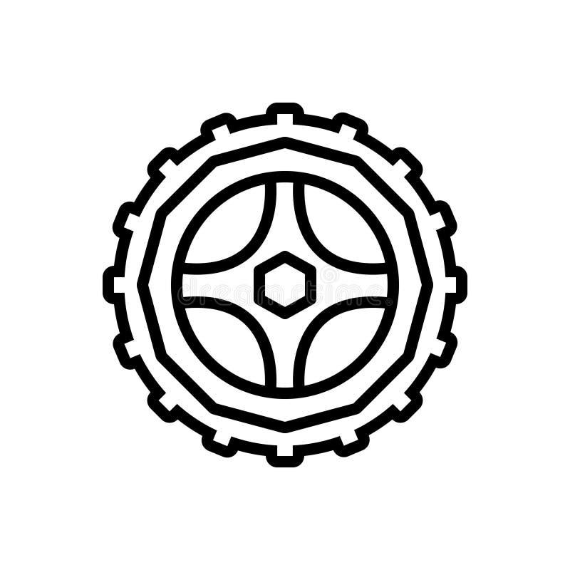 Svart linje symbol för hjul, motorcykel och styrning stock illustrationer