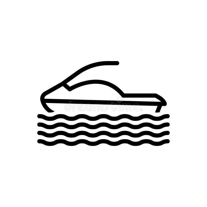 Svart linje symbol för Hydrocycle, vatten och lopp vektor illustrationer