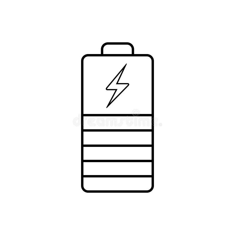 Svart linje symbol för indikator, uppladdare och kraftigt för batteri royaltyfri illustrationer