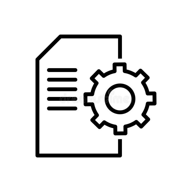 Svart linje symbol för innehåll, ledning och databas vektor illustrationer