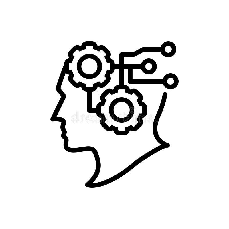 Svart linje symbol för intelligens, intellekt och avkänning royaltyfri illustrationer