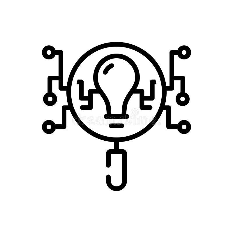 Svart linje symbol för intelligens, sökande och intellekt stock illustrationer