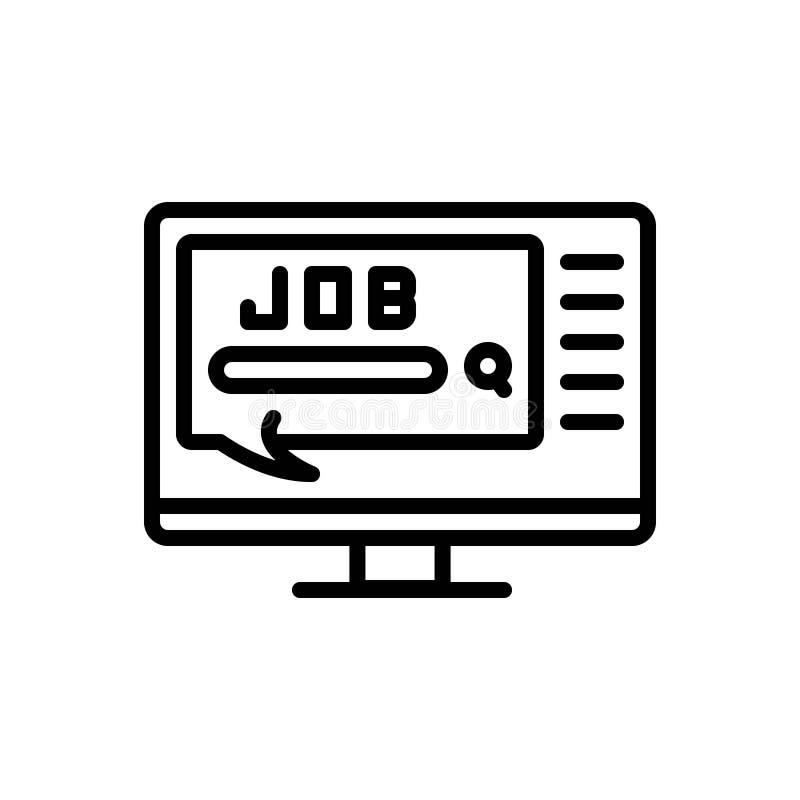 Svart linje symbol för jobb, att göra, uppgift och arbetsuppgift stock illustrationer