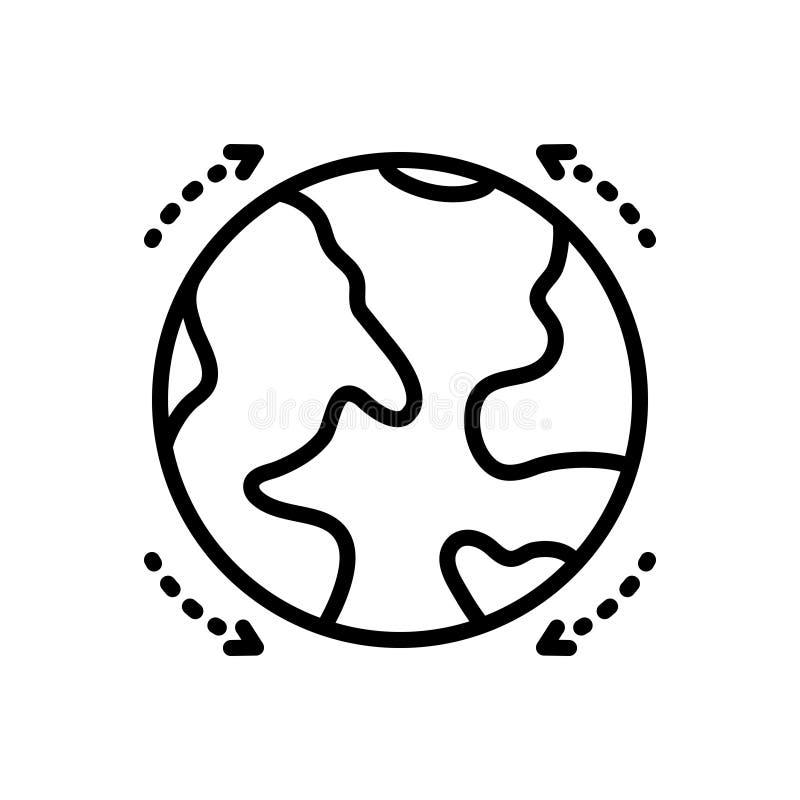 Svart linje symbol för jordklot, sfäriskt och modell stock illustrationer