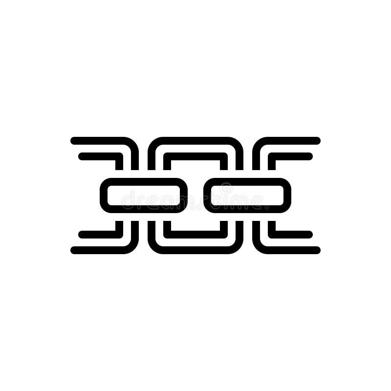 Svart linje symbol för kedja, sammanlänkning och hyperlink royaltyfri illustrationer