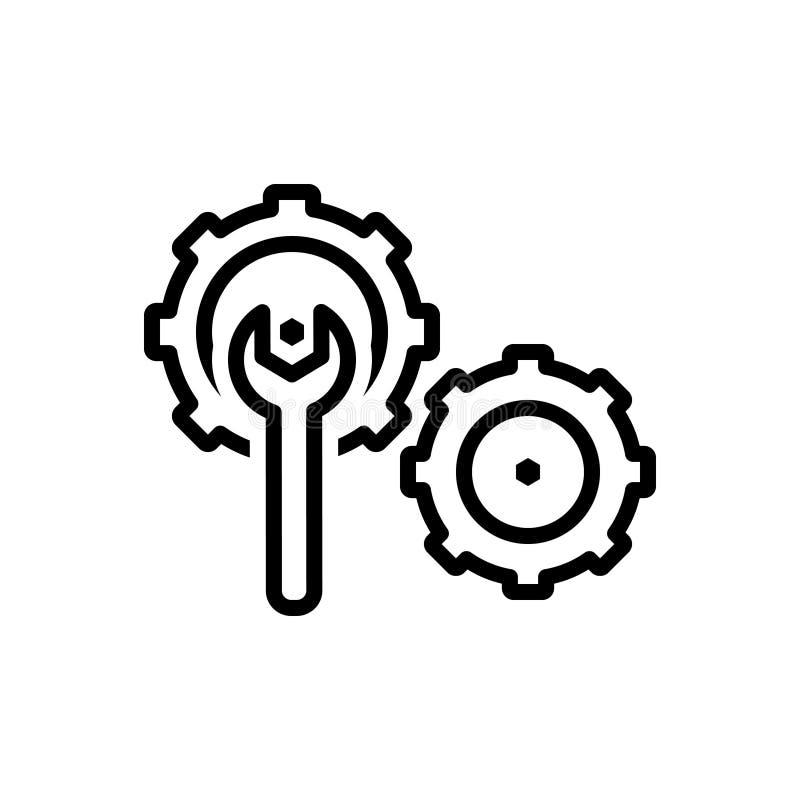 Svart linje symbol för knipa, kugghjul och hjälpmedel royaltyfri illustrationer