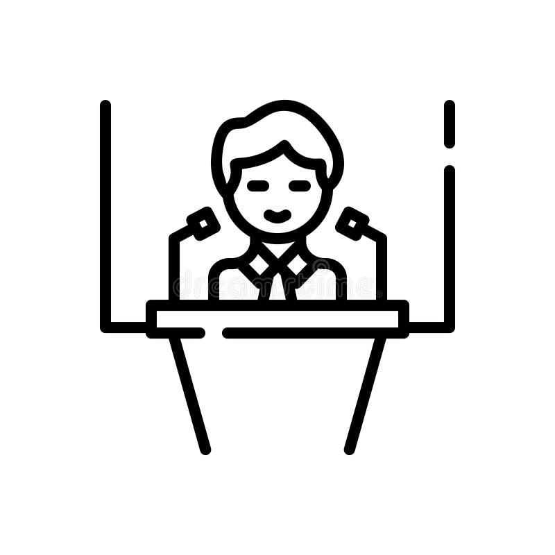 Svart linje symbol för konferens, regel och period royaltyfri illustrationer