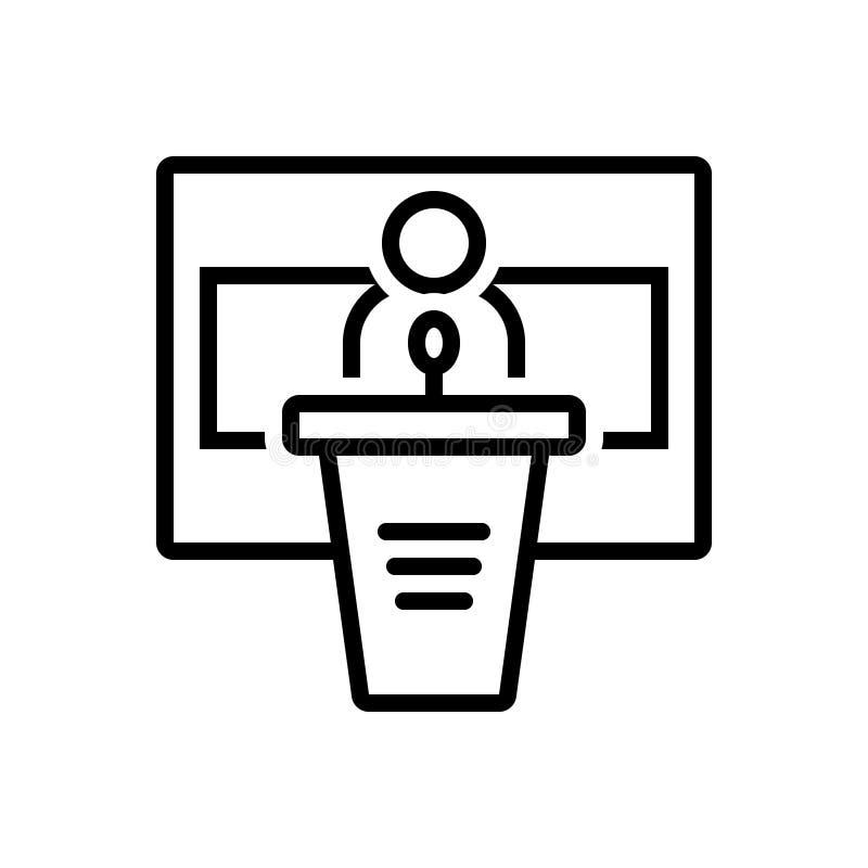 Svart linje symbol för konferens, seminarium och regel stock illustrationer