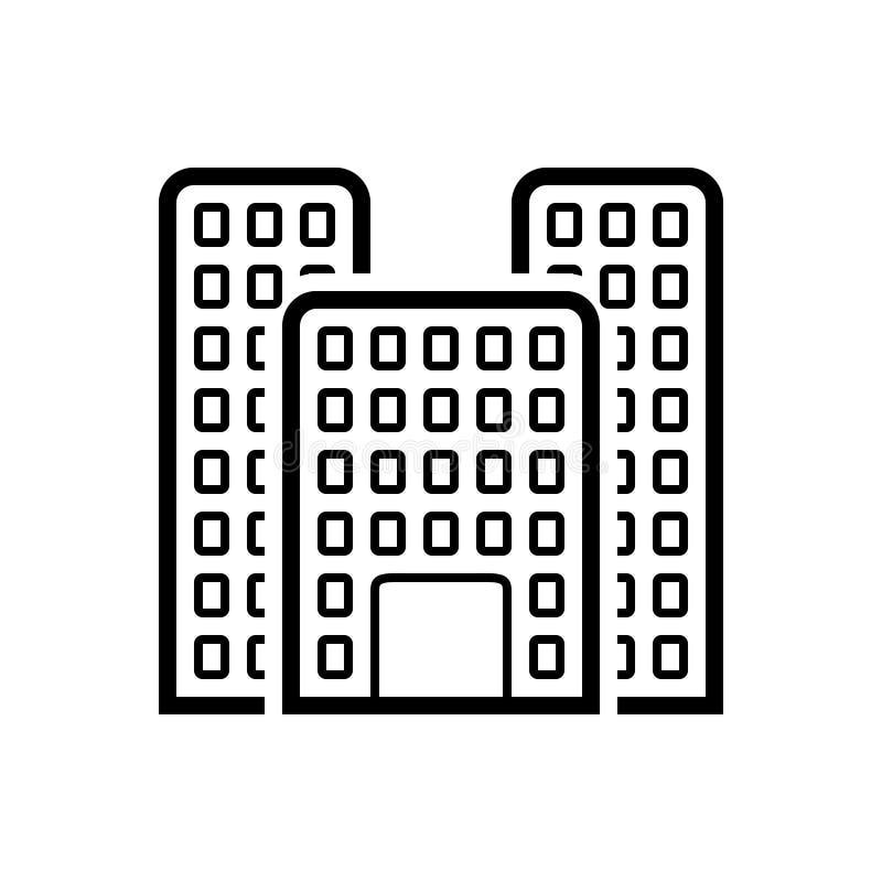 Svart linje symbol för kontorsbyggnad, stort och gränsmärke royaltyfri illustrationer