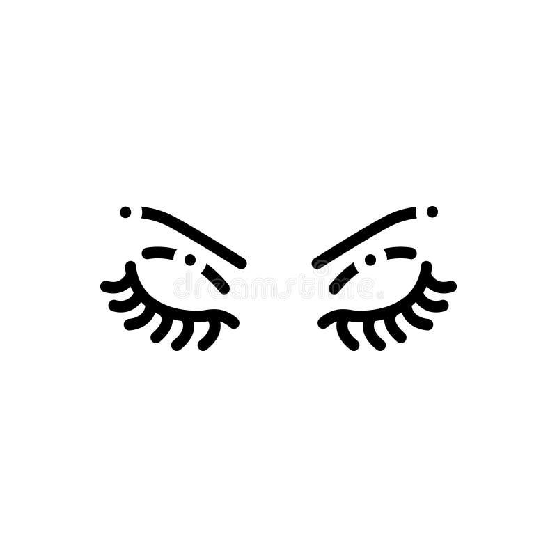 Svart linje symbol för krön, öga och makeup vektor illustrationer