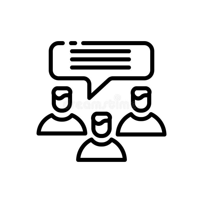 Svart linje symbol för kund, intyg och diskussion royaltyfria bilder