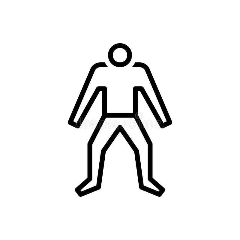 Svart linje symbol för mänskligt, att vara och image stock illustrationer