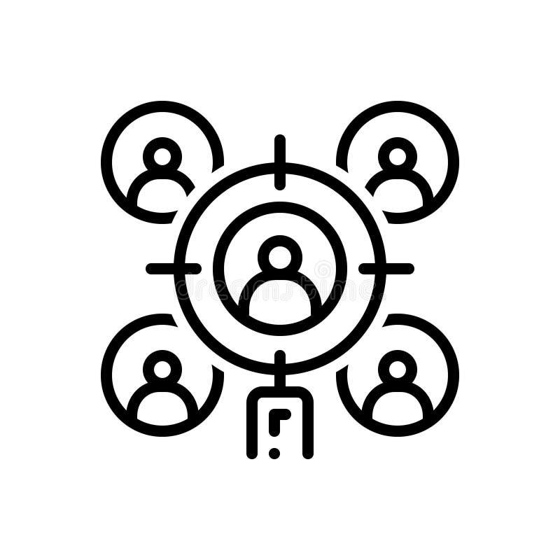 Svart linje symbol för målåhörare, lag och affär vektor illustrationer