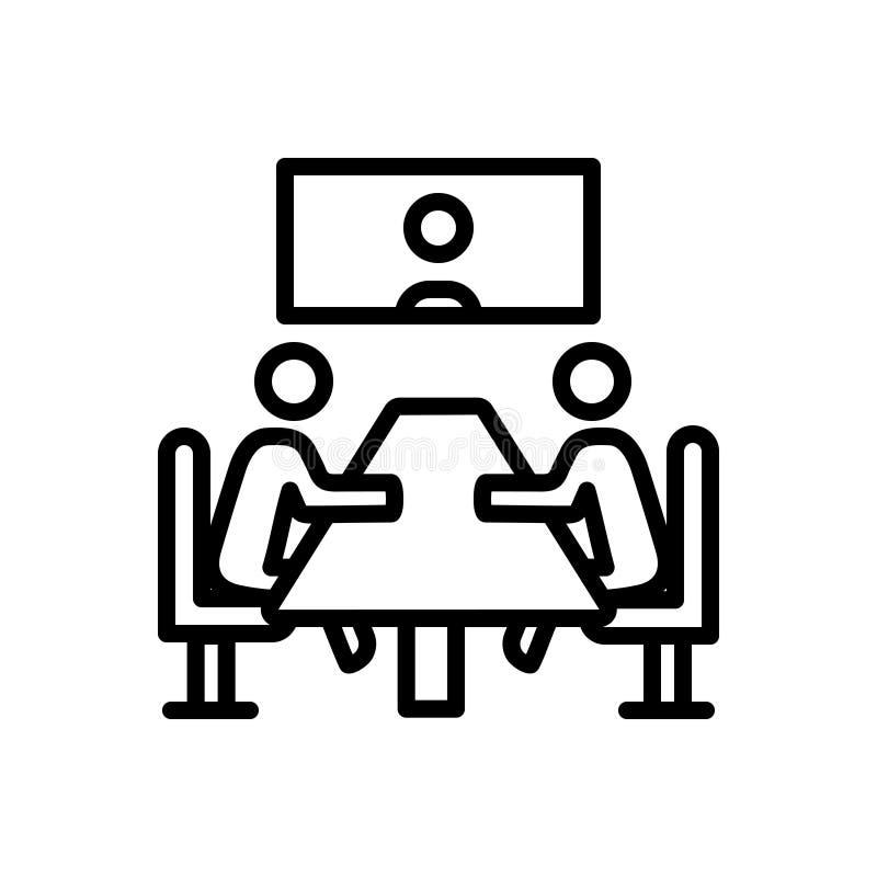 Svart linje symbol för möte, regel och konferens royaltyfri illustrationer