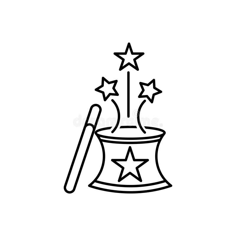 Svart linje symbol för magi, trollkarl och hatt stock illustrationer