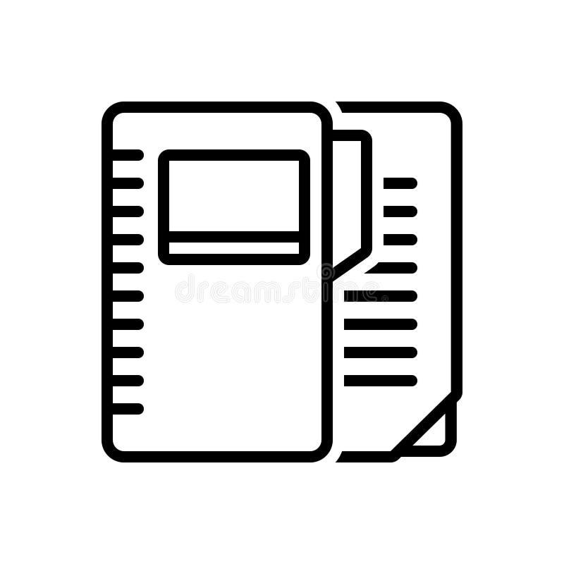 Svart linje symbol för mapp, anteckningsbok och dossier vektor illustrationer