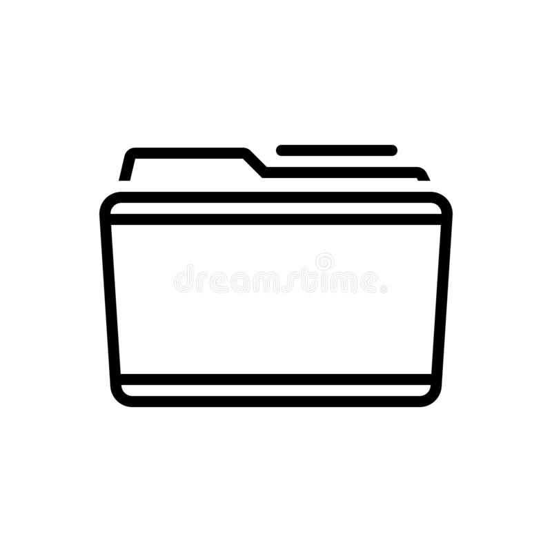Svart linje symbol för mapp, mapp och anteckningsbok stock illustrationer