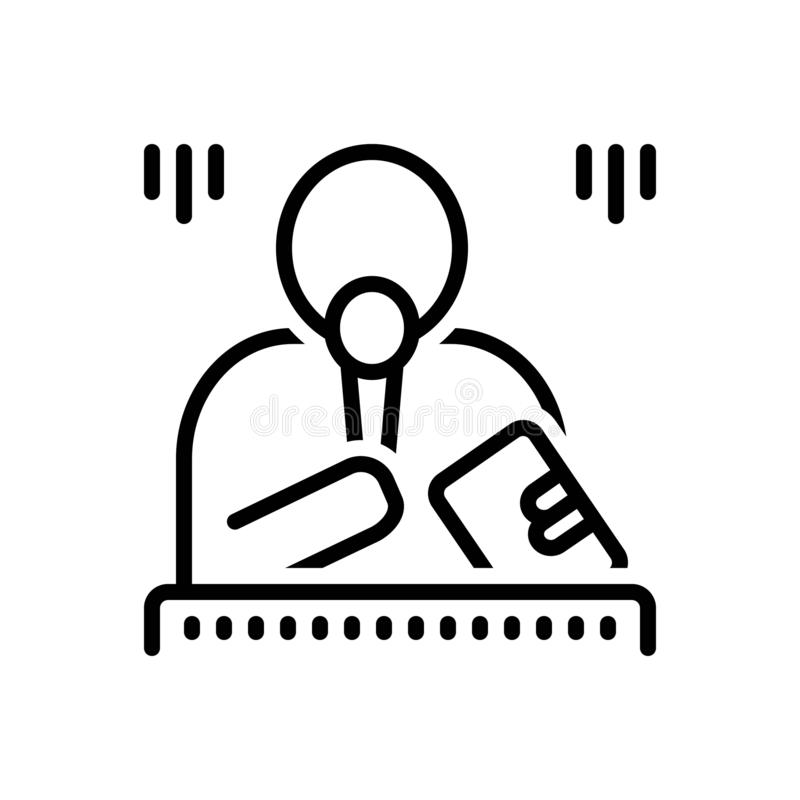 Svart linje symbol för marskalk, förlage och mikrofon stock illustrationer