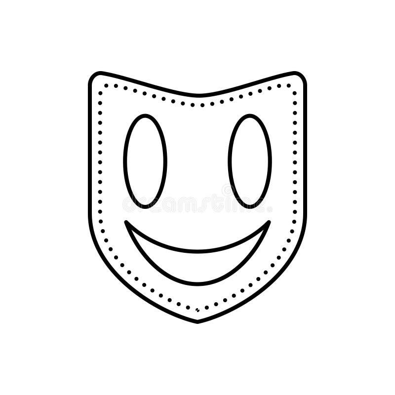 Svart linje symbol för maskering, framsidamaskering och drama vektor illustrationer