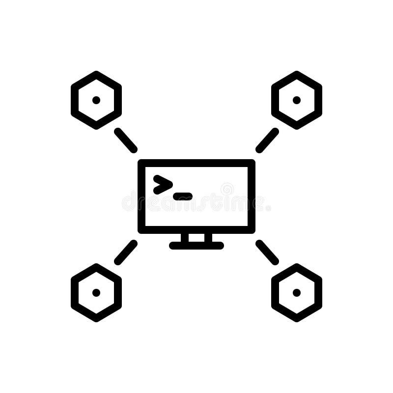 Svart linje symbol för Maven, app och expert royaltyfri illustrationer