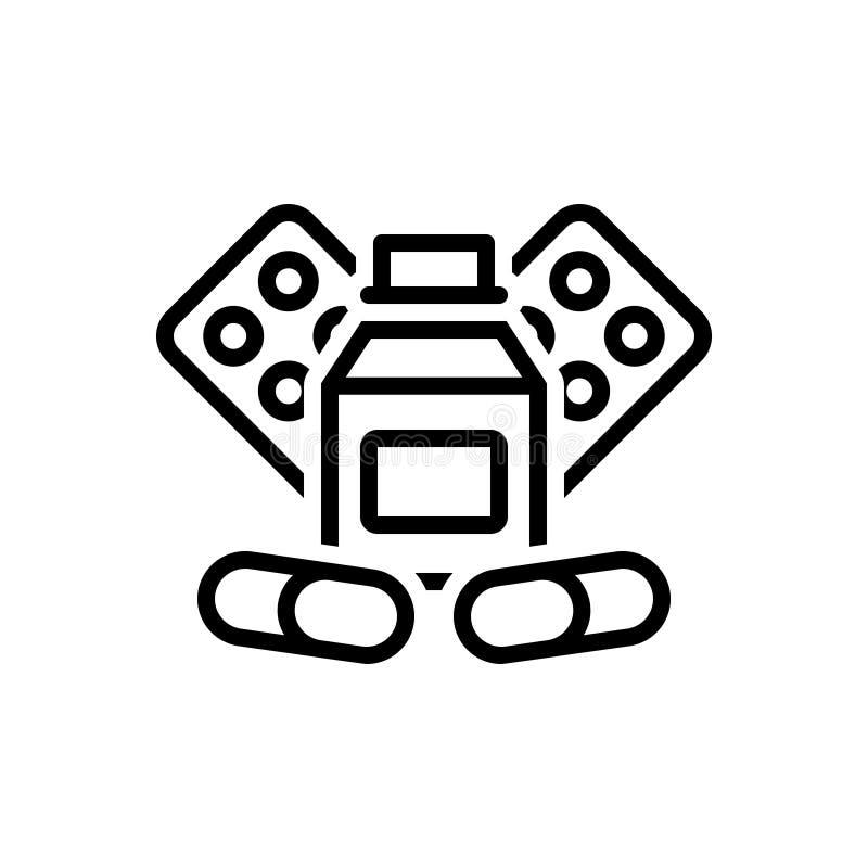 Svart linje symbol för medicin, drog och kapsel vektor illustrationer