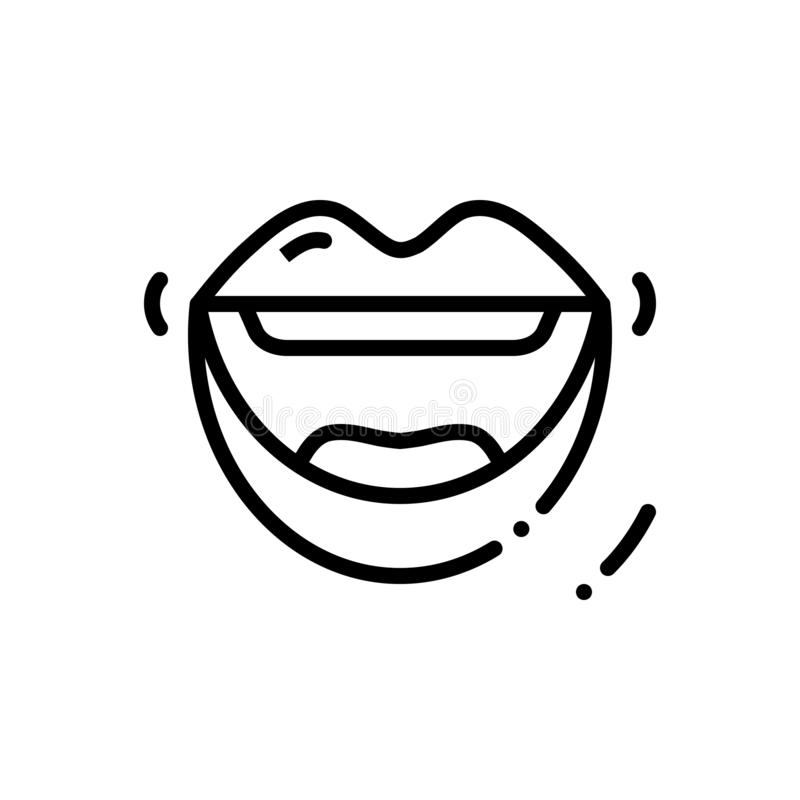 Svart linje symbol för mun, maw och hyttventil royaltyfri illustrationer