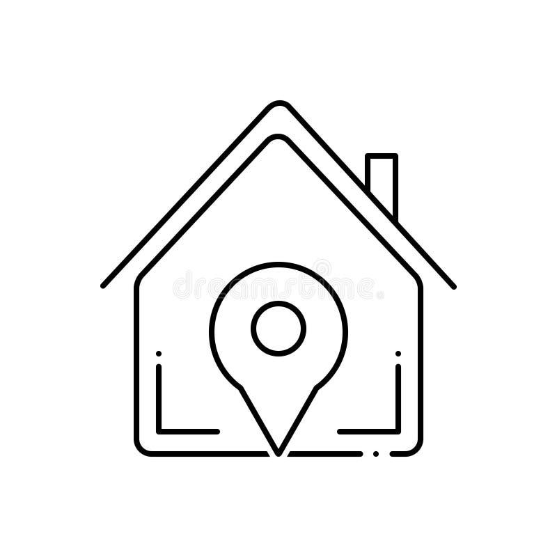 Svart linje symbol för navigeringhem, läge och egenskap stock illustrationer