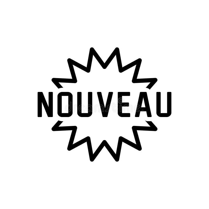 Svart linje symbol för Nouveau, nyast och nytt royaltyfri illustrationer