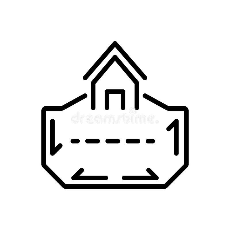 Svart linje symbol för område, territoriet och räckvidd stock illustrationer