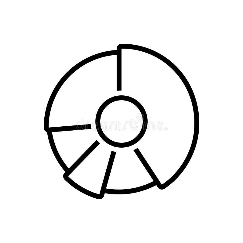 Svart linje symbol för pajdiagram, diagram och ritning royaltyfri illustrationer