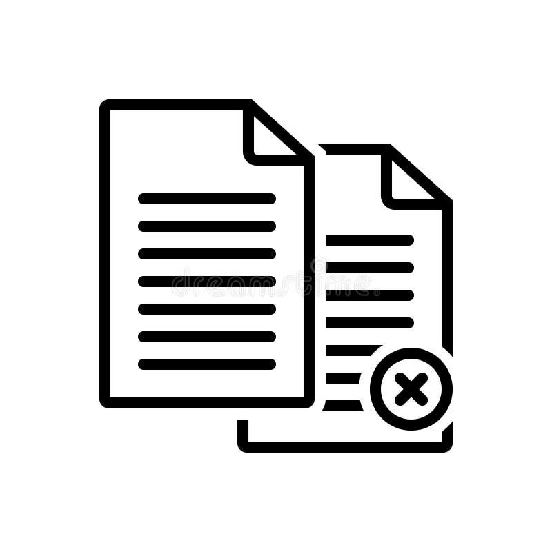 Svart linje symbol för Paperless, annullering och automatiskt vektor illustrationer