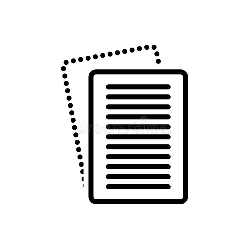 Svart linje symbol för Paperless, annullering och kopia stock illustrationer