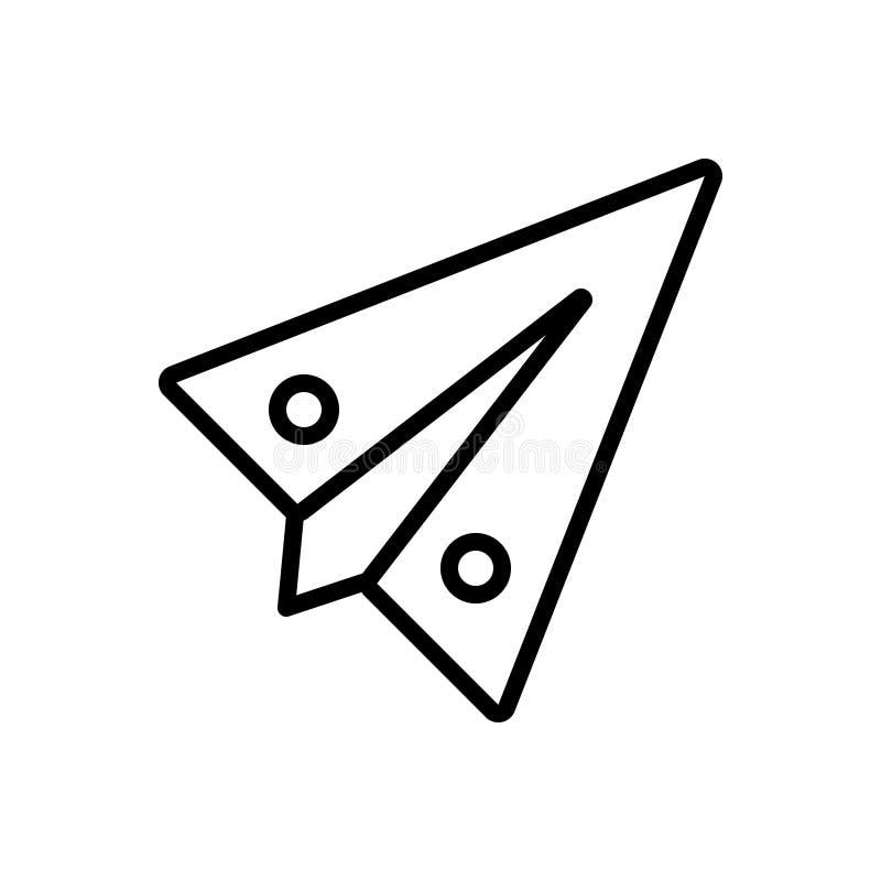 Svart linje symbol för pappers- nivå, flygplan och idérikt stock illustrationer