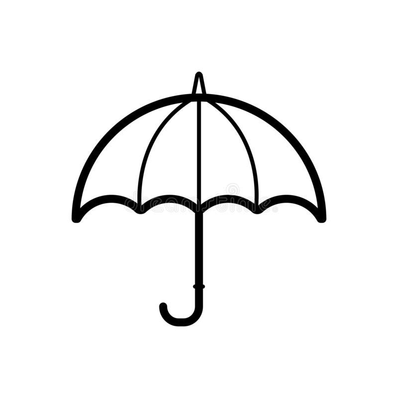 Svart linje symbol för paraply, säkerhet och regnigt vektor illustrationer