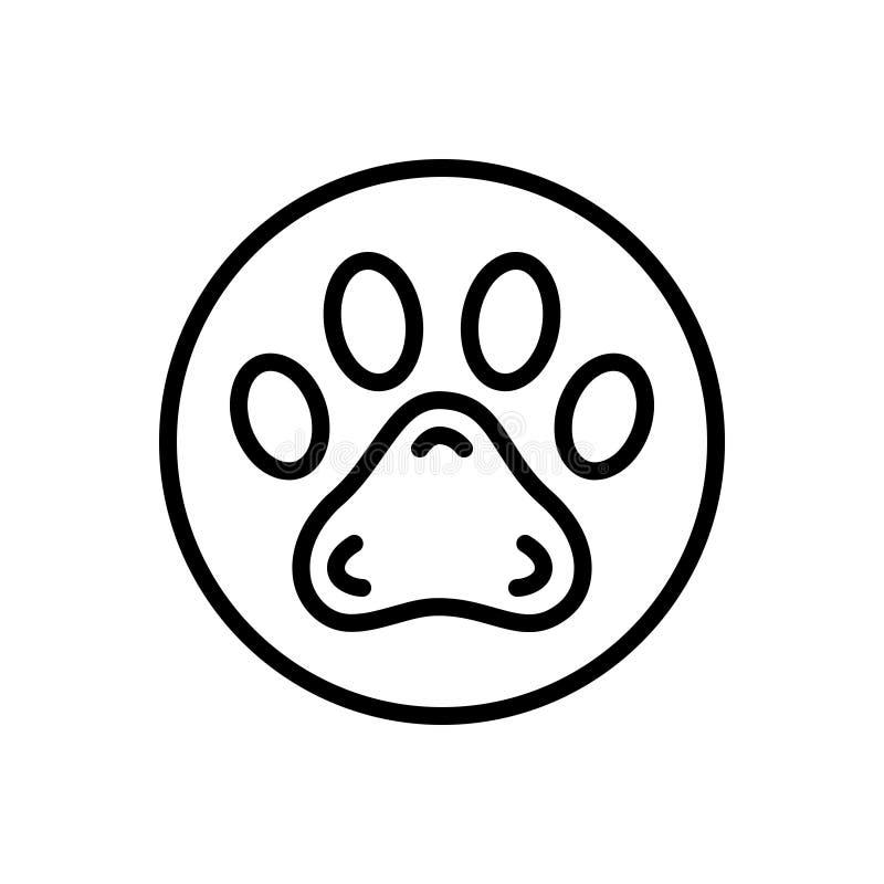 Svart linje symbol för Pawprint, veterinär och djur royaltyfri illustrationer