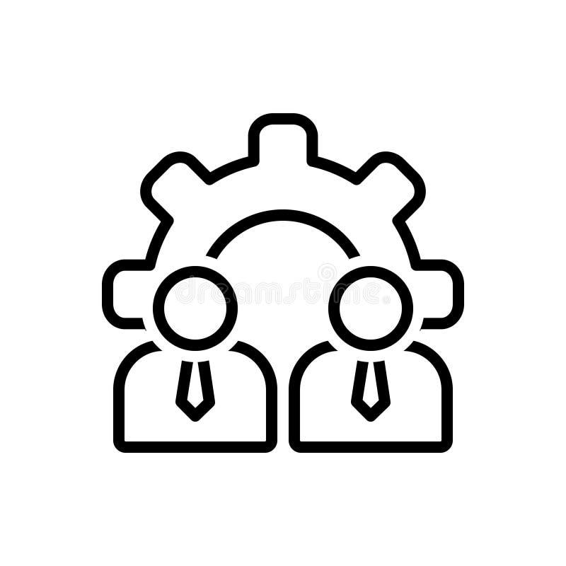 Svart linje symbol för personalresurser, människa och resurser stock illustrationer