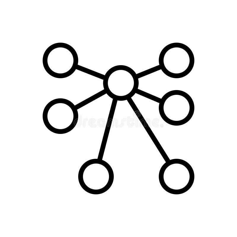 Svart linje symbol för personlig anslutning, personligt och kollaborativt stock illustrationer