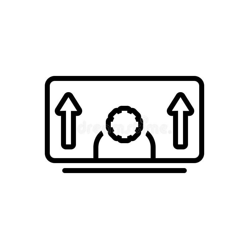 Svart linje symbol för personlig utveckling, evolution och utveckling vektor illustrationer