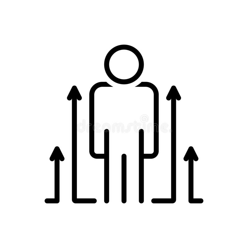 Svart linje symbol för personlig utveckling, personligt och utveckling stock illustrationer