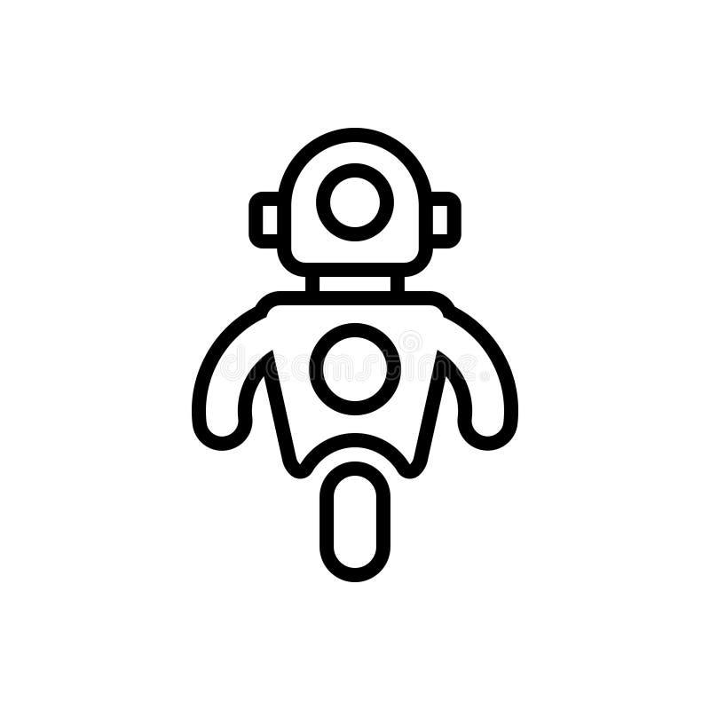Svart linje symbol för personliga Droid, personligt och droid stock illustrationer