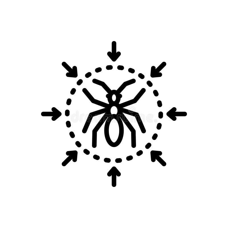 Svart linje symbol för plågakontroll, utrotning och termit stock illustrationer