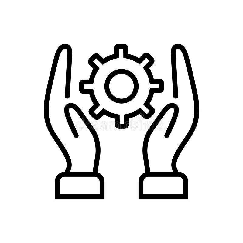 Svart linje symbol för praktiskt, roll och lek stock illustrationer