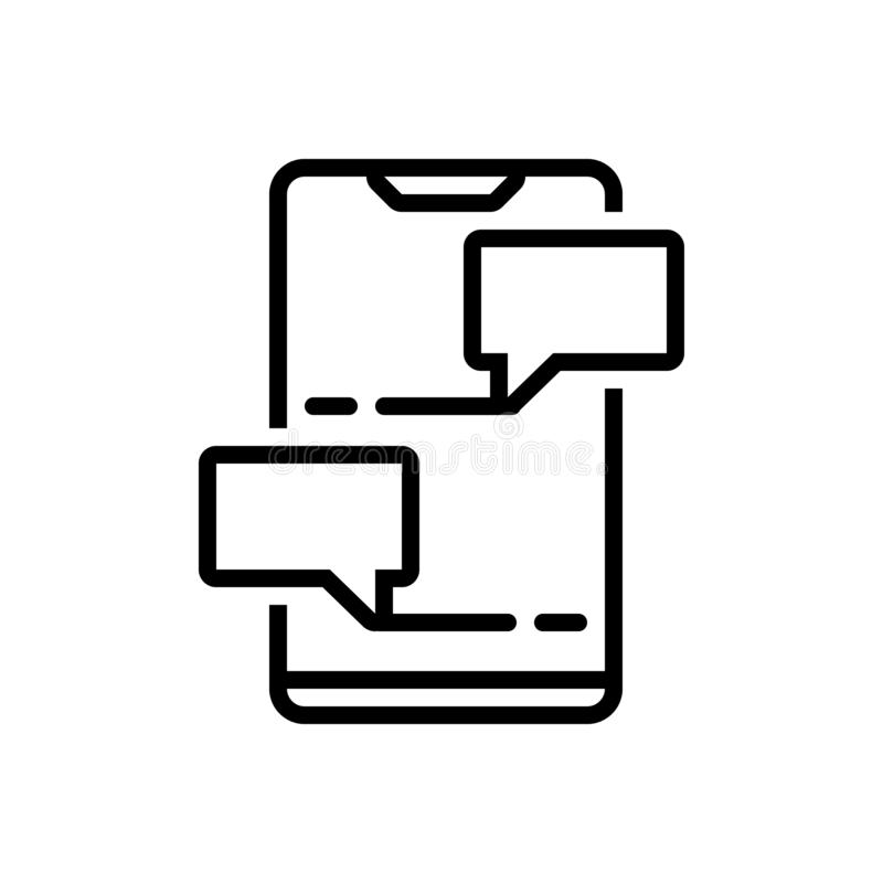 Svart linje symbol för pratstund, att prata och messaging stock illustrationer
