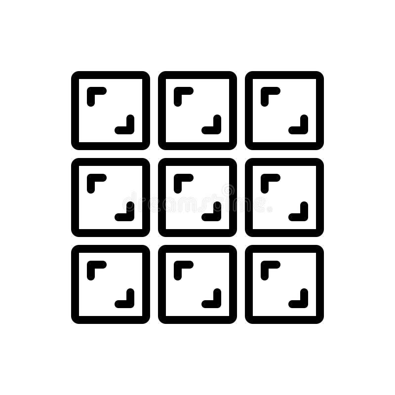 Svart linje symbol för rastersikt, galleri och modell vektor illustrationer