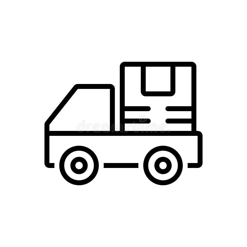 Svart linje symbol för sändning, leverans och fördelning vektor illustrationer